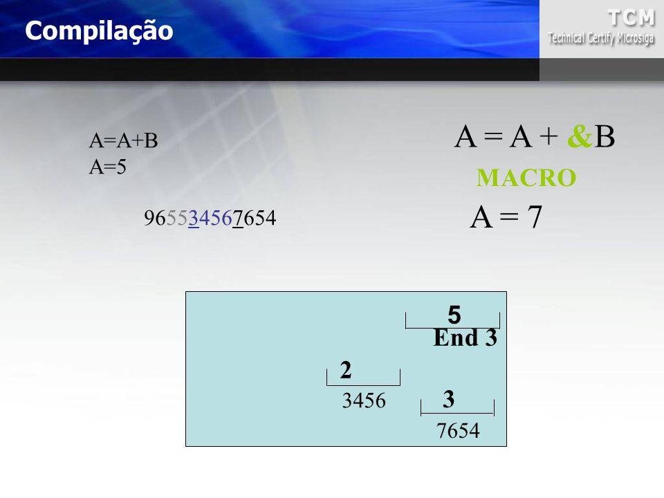 A=A+B A=5 965534567654 2 3456 7654 A = A + &B 3 MACRO End 3 5 A = 7 Compilação