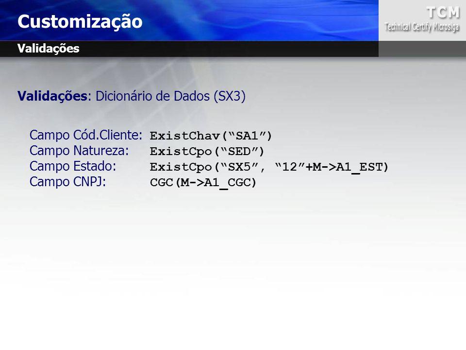 """Validações: Dicionário de Dados (SX3) Campo Cód.Cliente: ExistChav(""""SA1"""") Campo Natureza: ExistCpo(""""SED"""") Campo Estado: ExistCpo(""""SX5"""", """"12""""+M->A1_EST"""