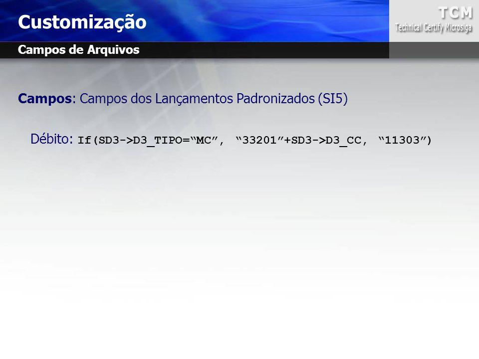 """Campos: Campos dos Lançamentos Padronizados (SI5) Débito: If(SD3->D3_TIPO=""""MC"""", """"33201""""+SD3->D3_CC, """"11303"""") Customização Campos de Arquivos"""