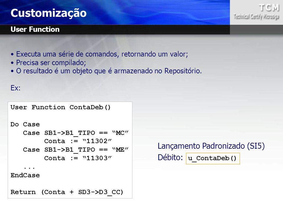 Executa uma série de comandos, retornando um valor; Precisa ser compilado; O resultado é um objeto que é armazenado no Repositório. Ex: Customização L