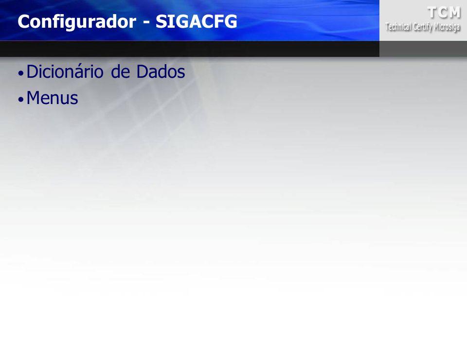 Dicionário de Dados Menus Configurador - SIGACFG