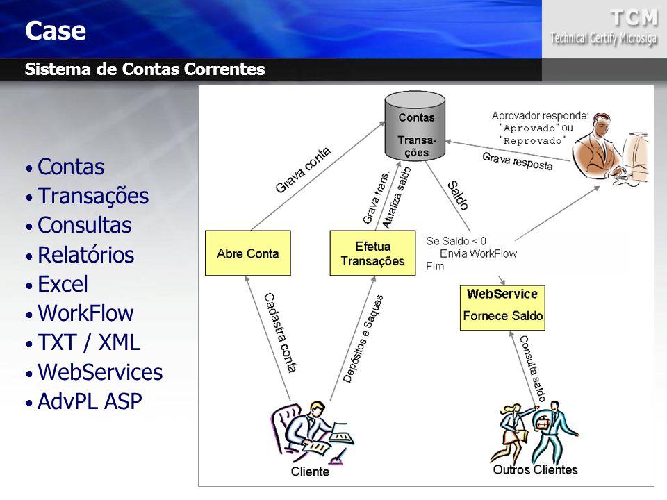 Contas Transações Consultas Relatórios Excel WorkFlow TXT / XML WebServices AdvPL ASP Case Sistema de Contas Correntes