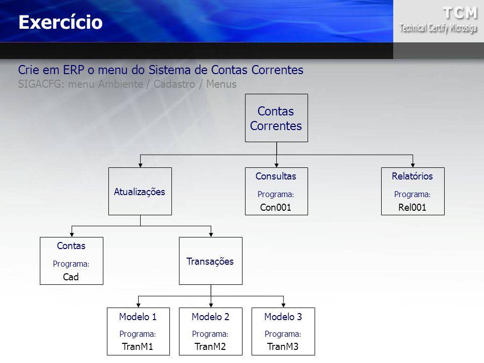 Crie em ERP o menu do Sistema de Contas Correntes SIGACFG: menu Ambiente / Cadastro / Menus Exercício Contas Correntes Atualizações Consultas Programa