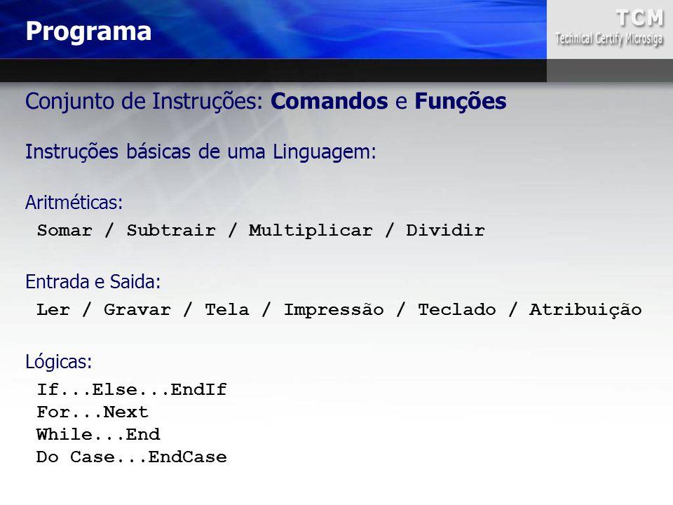 Conjunto de Instruções: Comandos e Funções Instruções básicas de uma Linguagem: Programa Aritméticas: Somar / Subtrair / Multiplicar / Dividir Entrada
