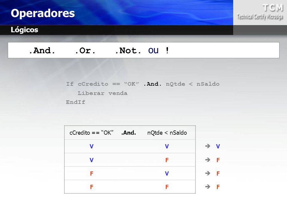 ".And..Or..Not. ou ! If cCredito == ""OK"".And. nQtde < nSaldo Liberar venda EndIf cCredito == ""OK"".And.nQtde < nSaldo VV  V VF  F FV  F FF  F Operad"