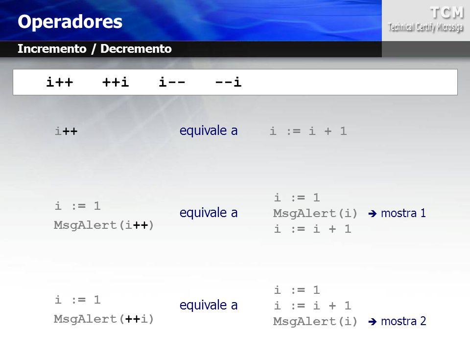 i++ equivale a i := i + 1 i := 1 MsgAlert(i++) i := 1 MsgAlert(++i) i++ ++i i-- --i i := 1 equivale a MsgAlert(i)  mostra 1 i := i + 1 i := 1 equival