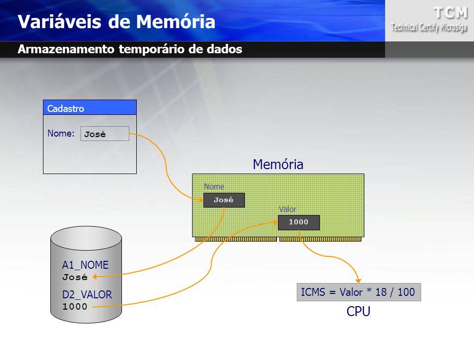 Cadastro Nome: Variáveis de Memória José Nome A1_NOME José D2_VALOR 1000 Valor ICMS = Valor * 18 / 100 Memória José CPU Armazenamento temporário de da
