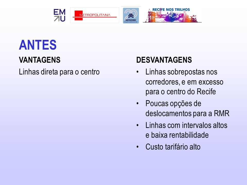 ANTES VANTAGENS Linhas direta para o centro DESVANTAGENS Linhas sobrepostas nos corredores, e em excesso para o centro do Recife Poucas opções de deslocamentos para a RMR Linhas com intervalos altos e baixa rentabilidade Custo tarifário alto