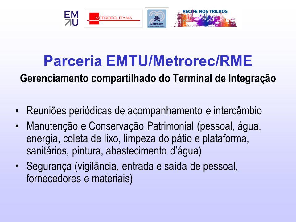 Parceria EMTU/Metrorec/RME Gerenciamento compartilhado do Terminal de Integração Reuniões periódicas de acompanhamento e intercâmbio Manutenção e Cons