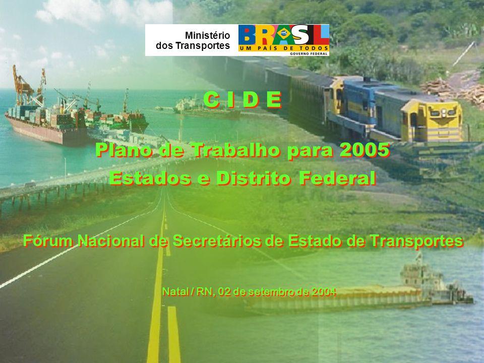 Plano de Trabalho para 2005 Natal / RN, 02 de setembro de 2004 Ministério dos Transportes Fórum Nacional de Secretários de Estado de Transportes C I D E Estados e Distrito Federal