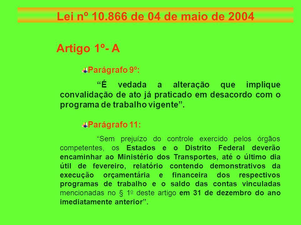 Artigo 1º- A Parágrafo 9º: É vedada a alteração que implique convalidação de ato já praticado em desacordo com o programa de trabalho vigente .