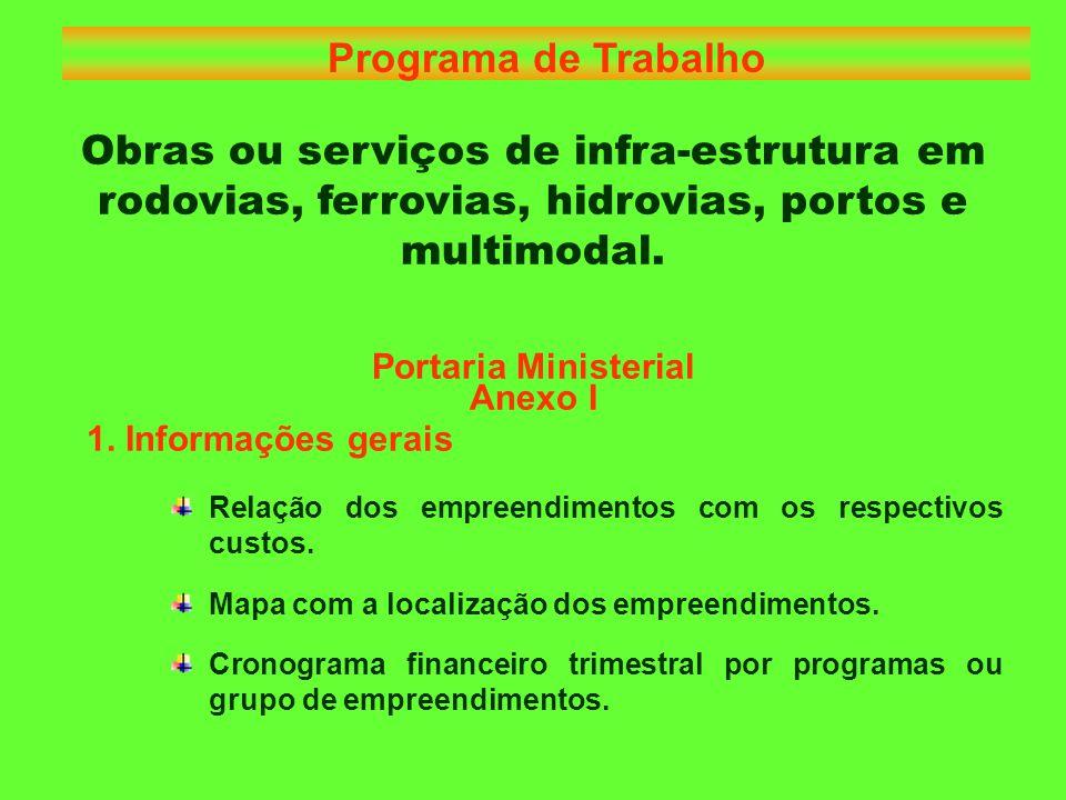 Portaria Ministerial Anexo I 2.Informações para cada empreendimento Descrição do empreendimento.