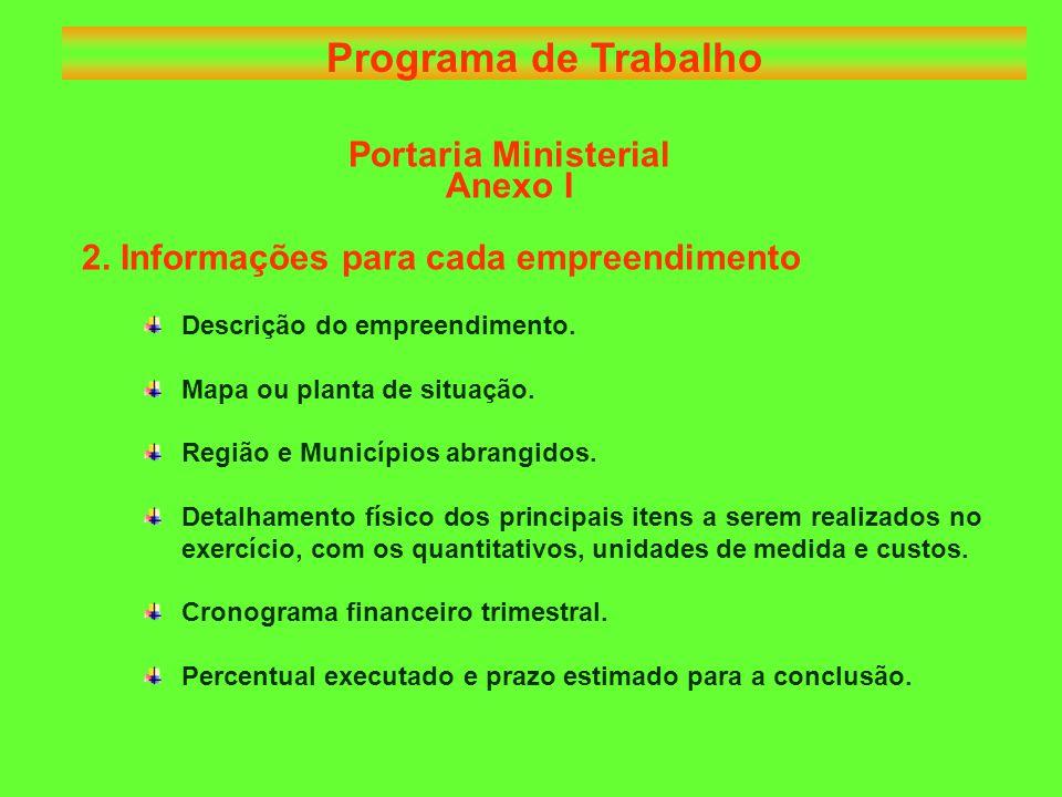 Portaria Ministerial Anexo I 2. Informações para cada empreendimento Descrição do empreendimento.