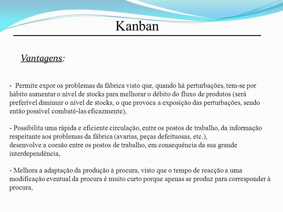 Kanban Vantagens: - Permite expor os problemas da fábrica visto que, quando há perturbações, tem-se por hábito aumentar o nível de stocks para melhora