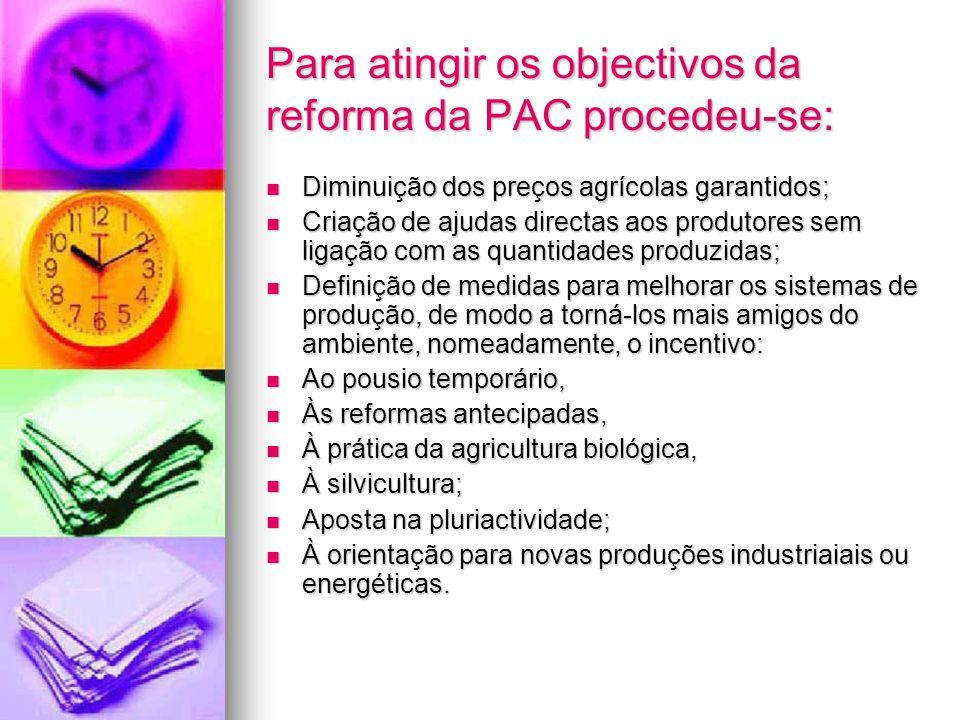 Para atingir os objectivos da reforma da PAC procedeu-se: Diminuição dos preços agrícolas garantidos; Diminuição dos preços agrícolas garantidos; Cria