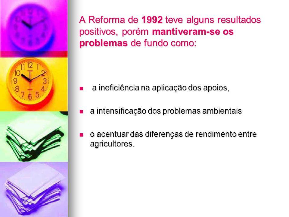 A Reforma de 1992 teve alguns resultados positivos, porém mantiveram-se os problemas de fundo como: a ineficiência na aplicação dos apoios, a ineficiê
