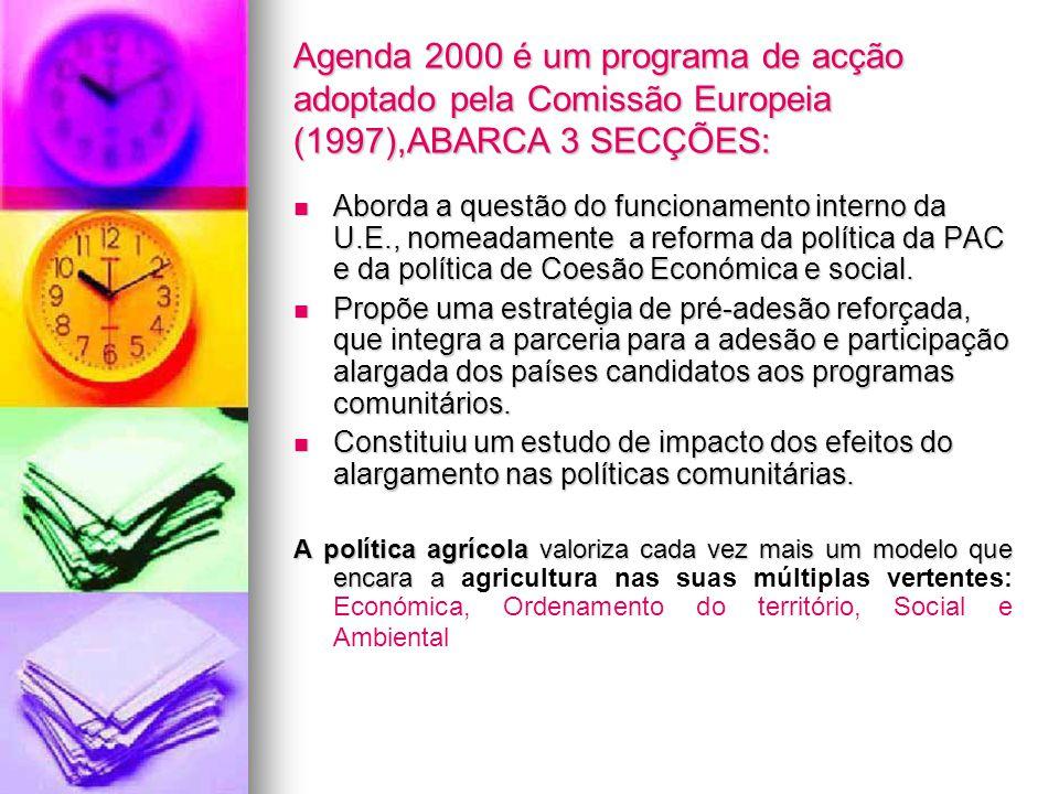 Agenda 2000 é um programa de acção adoptado pela Comissão Europeia (1997),ABARCA 3 SECÇÕES: Aborda a questão do funcionamento interno da U.E., nomeada