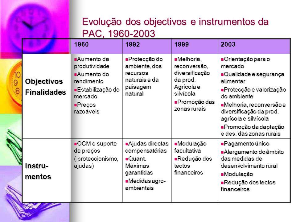 Evolução dos objectivos e instrumentos da PAC, 1960-2003 1960199219992003 ObjectivosFinalidades Aumento da produtividade Aumento da produtividade Aume