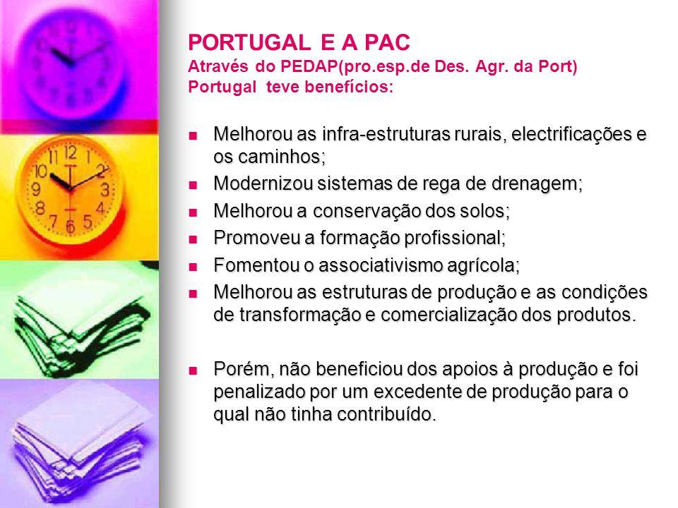 PORTUGAL E A PAC Através do PEDAP(pro.esp.de Des. Agr. da Port) Portugal teve benefícios: Melhorou as infra-estruturas rurais, electrificações e os ca
