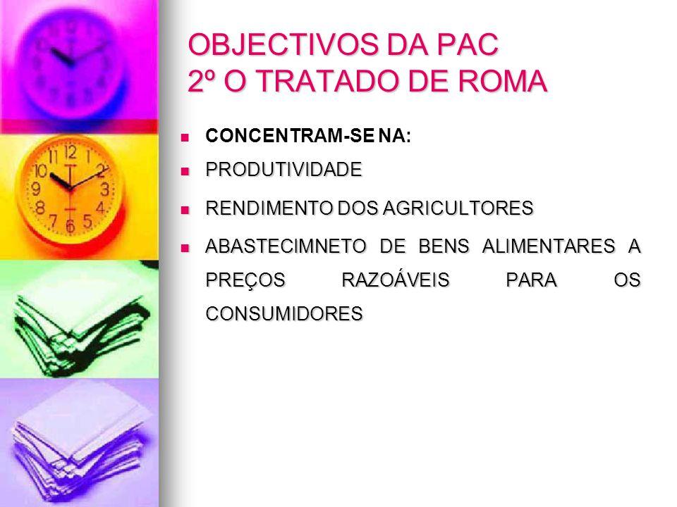 OBJECTIVOS DA PAC 2º O TRATADO DE ROMA CONCENTRAM-SE NA: PRODUTIVIDADE PRODUTIVIDADE RENDIMENTO DOS AGRICULTORES RENDIMENTO DOS AGRICULTORES ABASTECIM