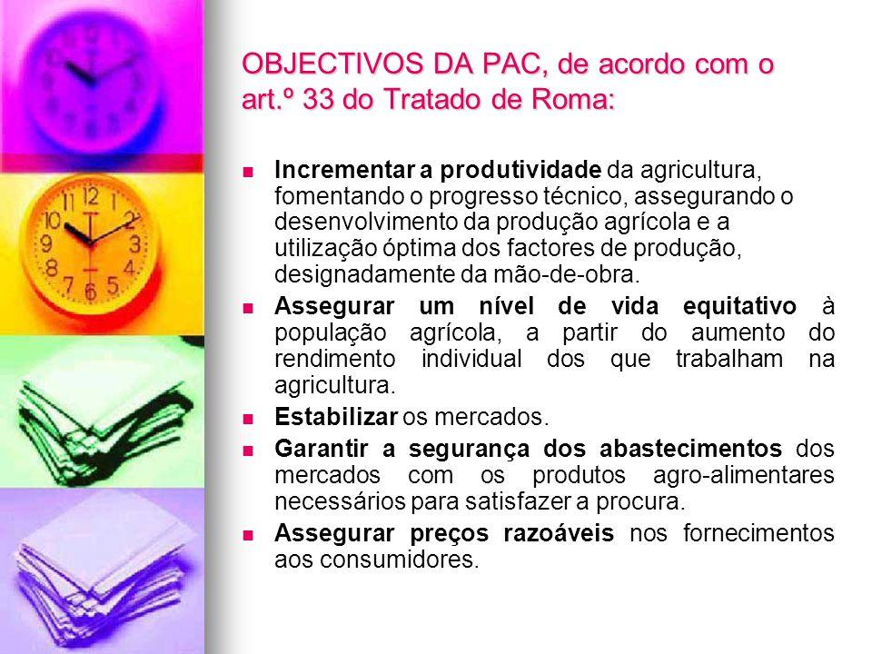 OBJECTIVOS DA PAC, de acordo com o art.º 33 do Tratado de Roma: Incrementar a produtividade da agricultura, fomentando o progresso técnico, assegurand