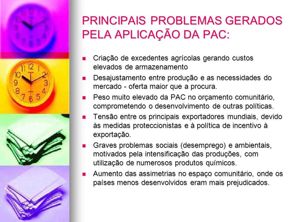 PRINCIPAIS PROBLEMAS GERADOS PELA APLICAÇÃO DA PAC: Criação de excedentes agrícolas gerando custos elevados de armazenamento Criação de excedentes agr