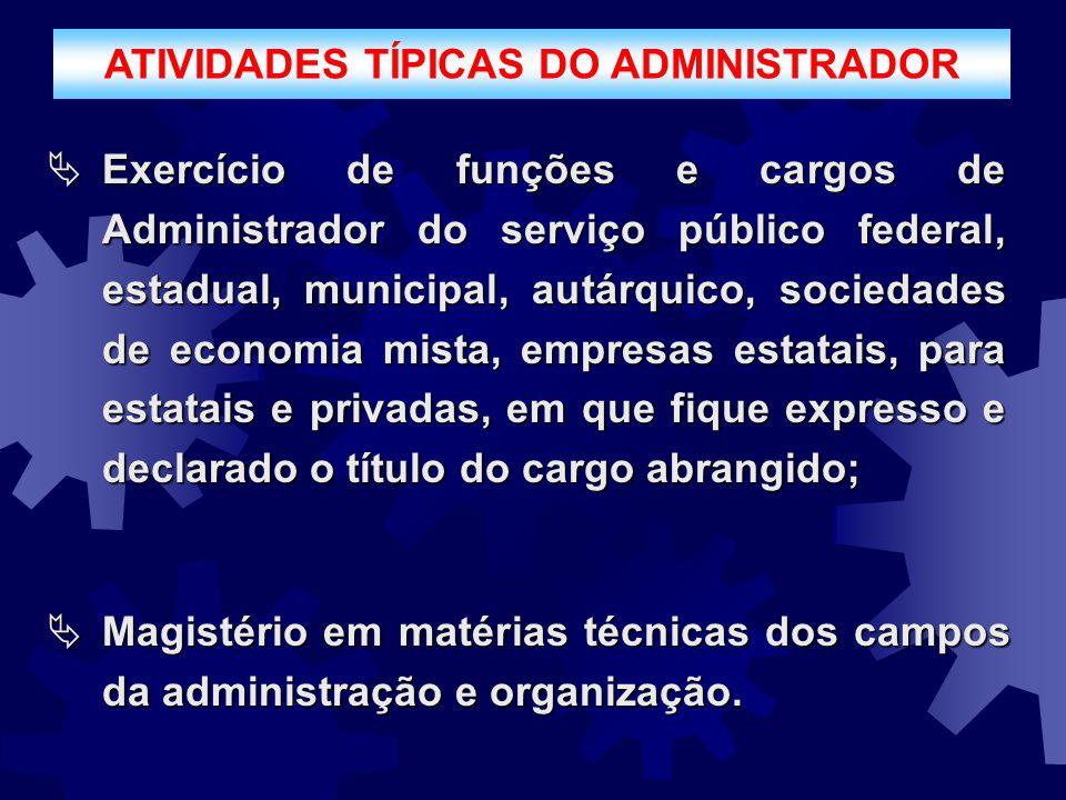 ATIVIDADES TÍPICAS DO ADMINISTRADOR  Exercício de funções e cargos de Administrador do serviço público federal, estadual, municipal, autárquico, soci