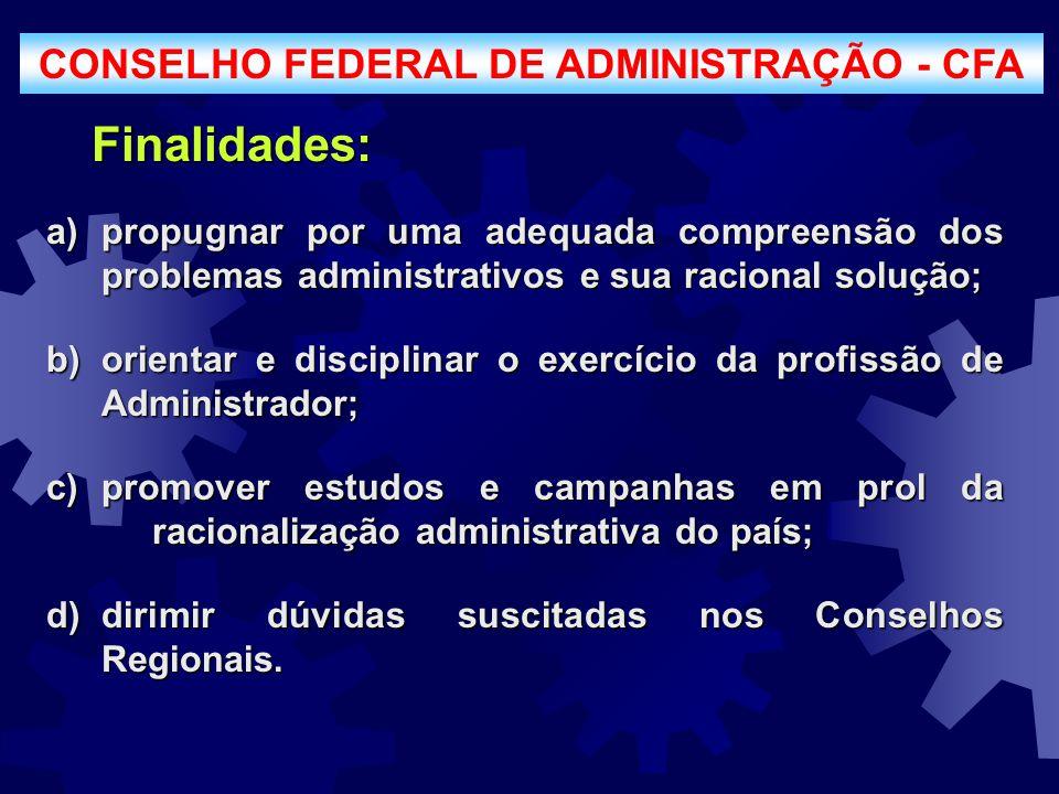 CONSELHO FEDERAL DE ADMINISTRAÇÃO - CFA a)propugnar por uma adequada compreensão dos problemas administrativos e sua racional solução; b)orientar e di