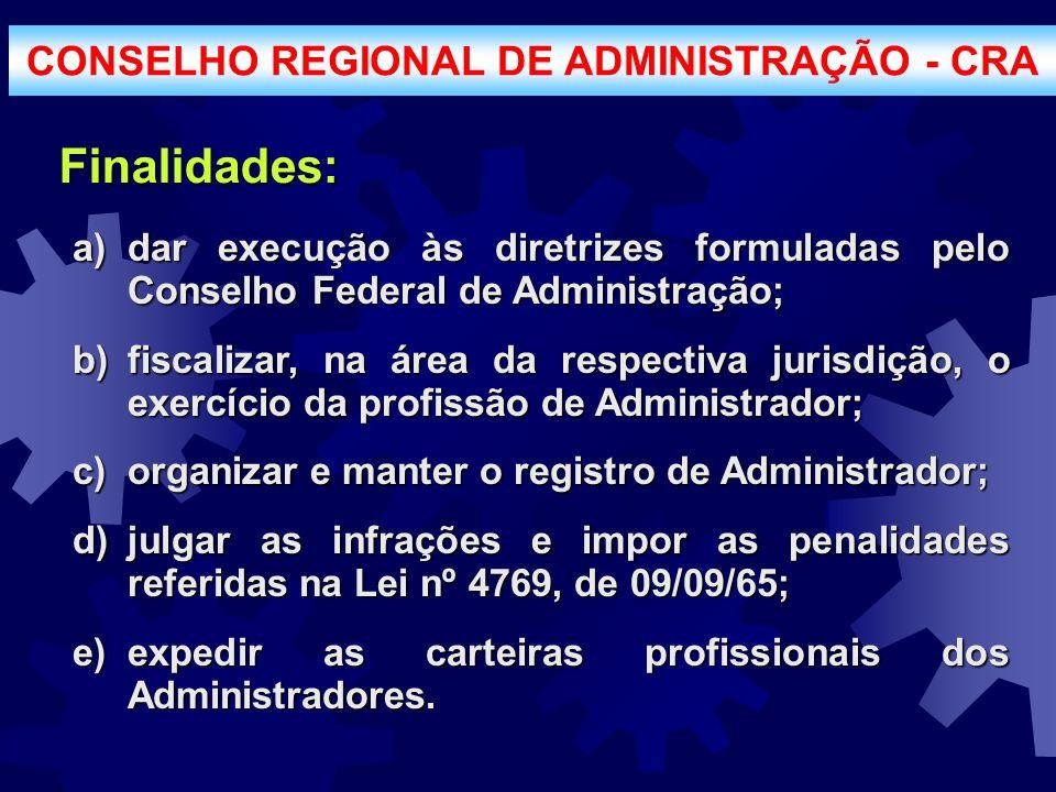 Finalidades: a)dar execução às diretrizes formuladas pelo Conselho Federal de Administração; b)fiscalizar, na área da respectiva jurisdição, o exercíc