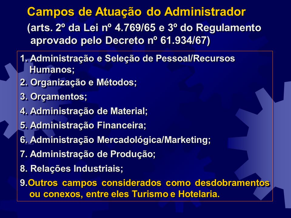 Campos de Atuação do Administrador (arts. 2º da Lei nº 4.769/65 e 3º do Regulamento aprovado pelo Decreto nº 61.934/67) Campos de Atuação do Administr