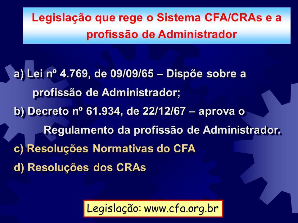 Legislação que rege o Sistema CFA/CRAs e a profissão de Administrador a) Lei nº 4.769, de 09/09/65 – Dispõe sobre a profissão de Administrador; b) Dec