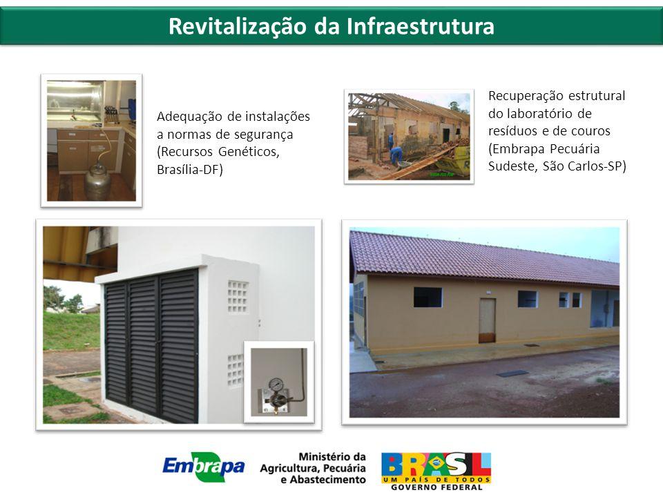 Revitalização da Infraestrutura Adequação de instalações a normas de segurança (Recursos Genéticos, Brasília-DF) Recuperação estrutural do laboratório de resíduos e de couros (Embrapa Pecuária Sudeste, São Carlos-SP)
