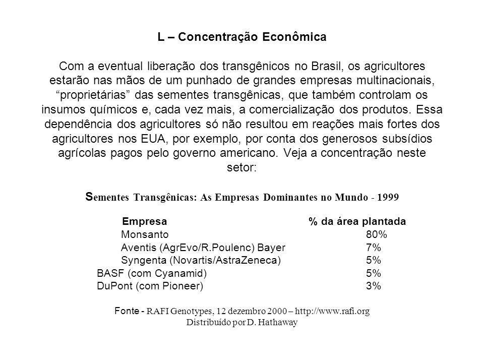 L – Concentração Econômica Com a eventual liberação dos transgênicos no Brasil, os agricultores estarão nas mãos de um punhado de grandes empresas mul