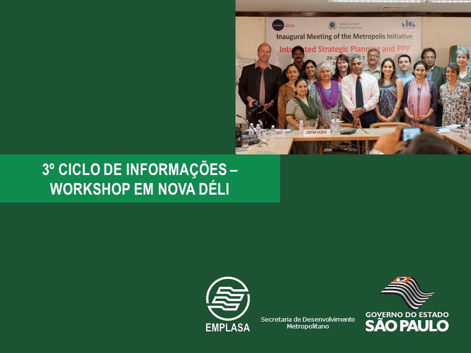 3º CICLO DE INFORMAÇÕES – WORKSHOP EM NOVA DÉLI Secretaria de Desenvolvimento Metropolitano