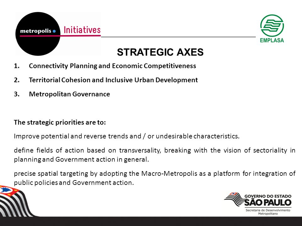 STRATEGIC AXES 1.Connectivity Planning and Economic Competitiveness 2.Territorial Cohesion and Inclusive Urban Development 3.Metropolitan Governance The strategic priorities are to: Improve potential and reverse trends and / or undesirable characteristics.