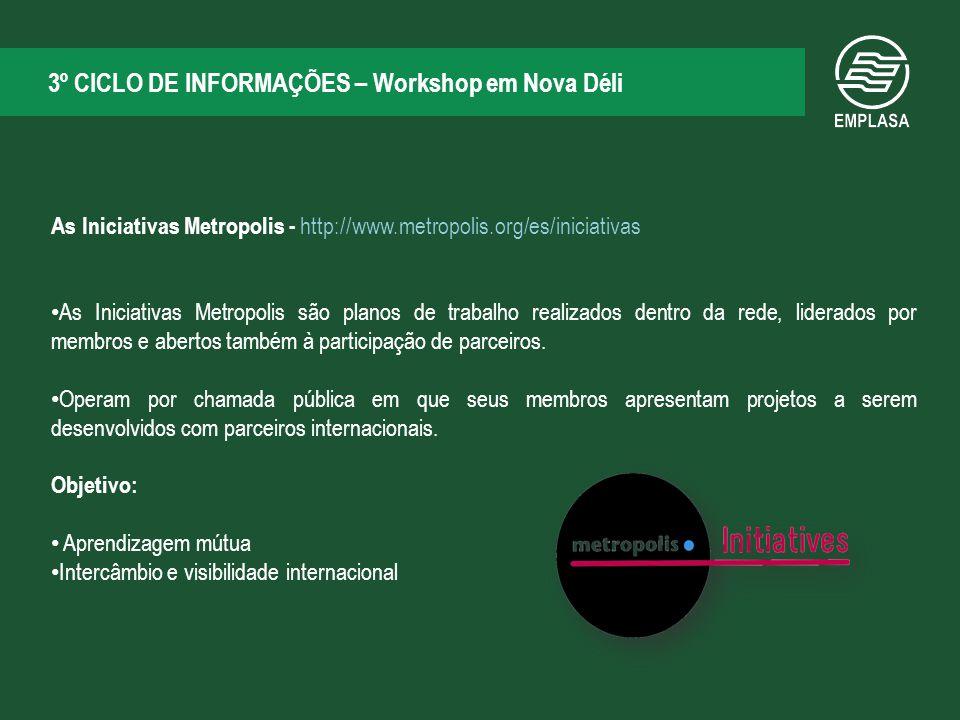 3º CICLO DE INFORMAÇÕES – Workshop em Nova Déli As Iniciativas Metropolis - http://www.metropolis.org/es/iniciativas As Iniciativas Metropolis são planos de trabalho realizados dentro da rede, liderados por membros e abertos também à participação de parceiros.