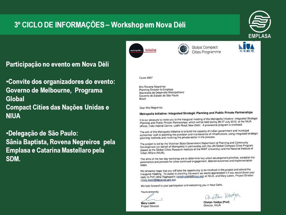 3º CICLO DE INFORMAÇÕES – Workshop em Nova Déli Metodologia dos Círculos de Sustentabilidade Exemplo do caso de Melbourne: