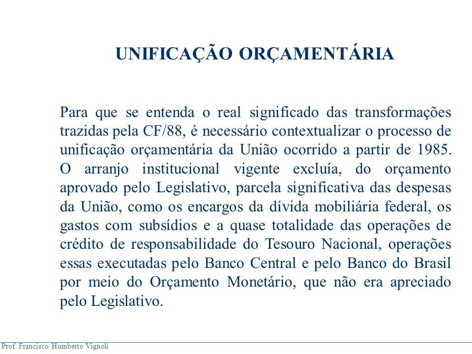 Prof. Francisco Humberto Vignoli UNIFICAÇÃO ORÇAMENTÁRIA Para que se entenda o real significado das transformações trazidas pela CF/88, é necessário c