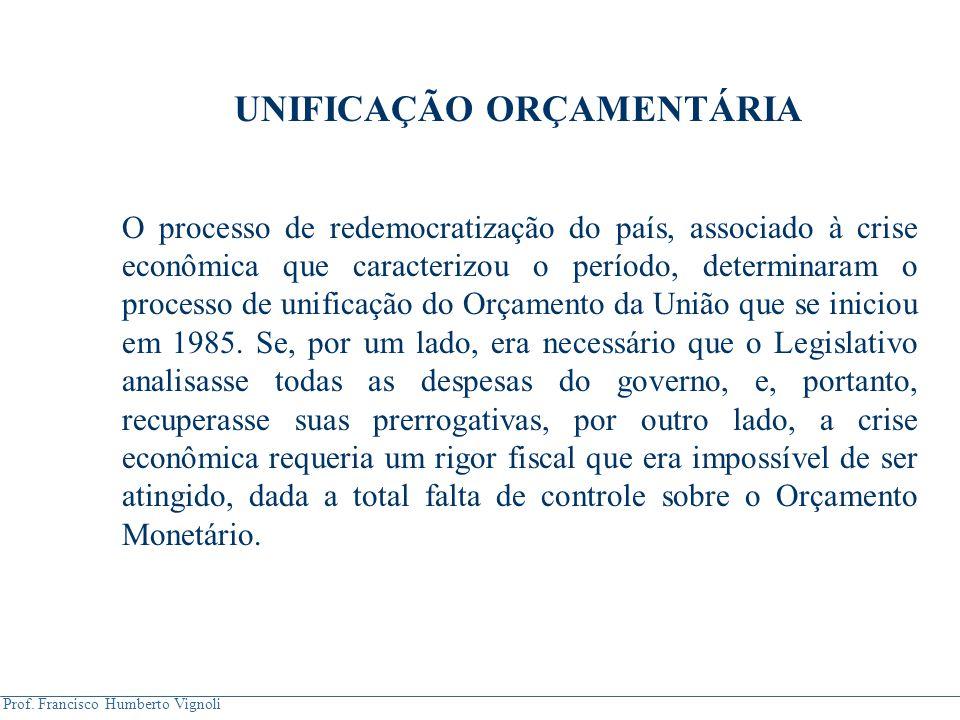 Prof. Francisco Humberto Vignoli UNIFICAÇÃO ORÇAMENTÁRIA O processo de redemocratização do país, associado à crise econômica que caracterizou o períod