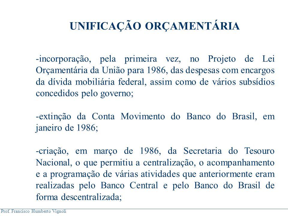 Prof. Francisco Humberto Vignoli UNIFICAÇÃO ORÇAMENTÁRIA -incorporação, pela primeira vez, no Projeto de Lei Orçamentária da União para 1986, das desp