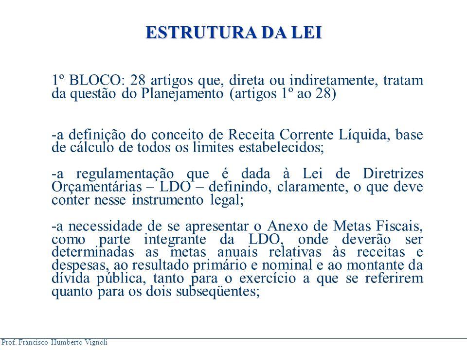 Prof. Francisco Humberto Vignoli ESTRUTURA DA LEI 1º BLOCO: 28 artigos que, direta ou indiretamente, tratam da questão do Planejamento (artigos 1º ao