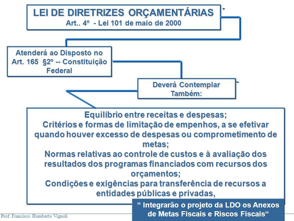 Prof. Francisco Humberto Vignoli LEI DE DIRETRIZES ORÇAMENTÁRIAS Art.. 4º - Lei 101 de maio de 2000 Atenderá ao Disposto no Art. 165 §2º -- Constituiç