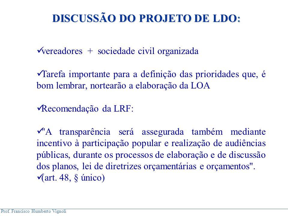 Prof. Francisco Humberto Vignoli DISCUSSÃO DO PROJETO DE LDO: vereadores + sociedade civil organizada Tarefa importante para a definição das prioridad