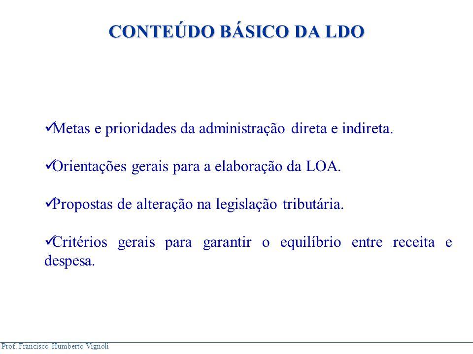Prof. Francisco Humberto Vignoli Metas e prioridades da administração direta e indireta. Orientações gerais para a elaboração da LOA. Propostas de alt