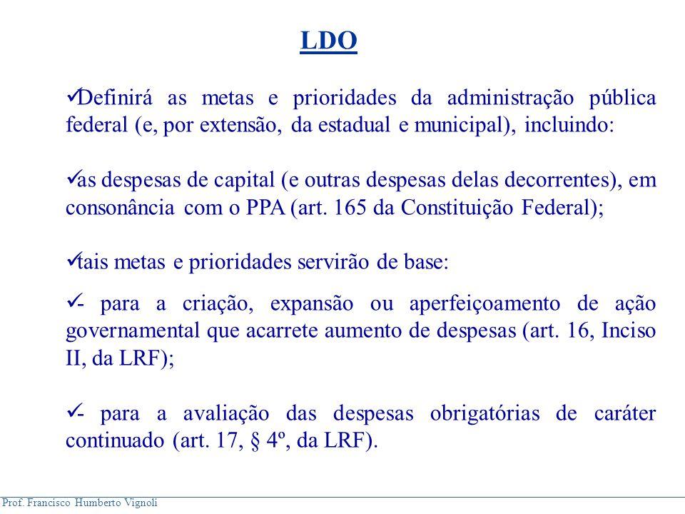 Prof.Francisco Humberto Vignoli Orientará a elaboração da LOA (art.
