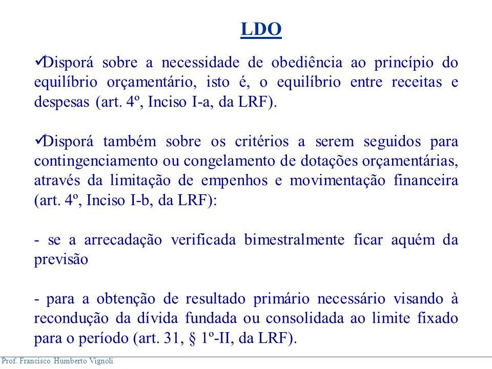 Prof. Francisco Humberto Vignoli Disporá sobre a necessidade de obediência ao princípio do equilíbrio orçamentário, isto é, o equilíbrio entre receita