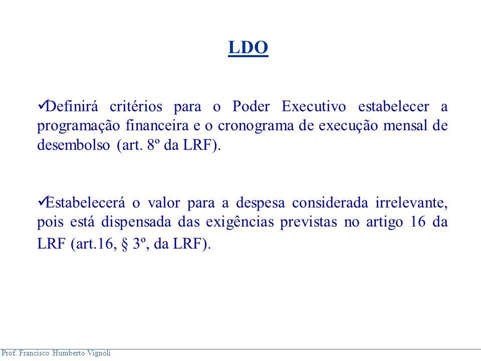 Prof. Francisco Humberto Vignoli Definirá critérios para o Poder Executivo estabelecer a programação financeira e o cronograma de execução mensal de d