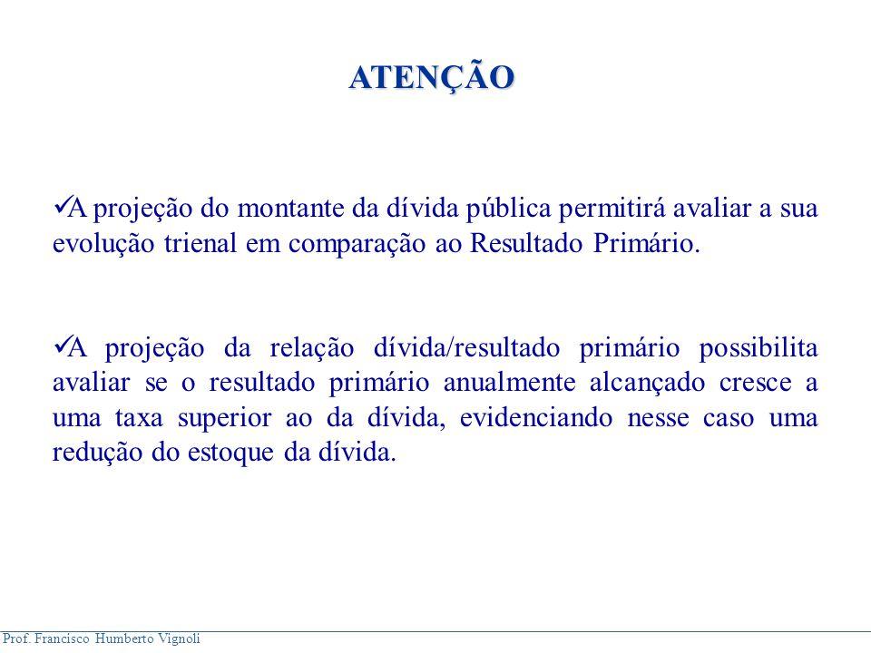 Prof. Francisco Humberto Vignoli A projeção do montante da dívida pública permitirá avaliar a sua evolução trienal em comparação ao Resultado Primário