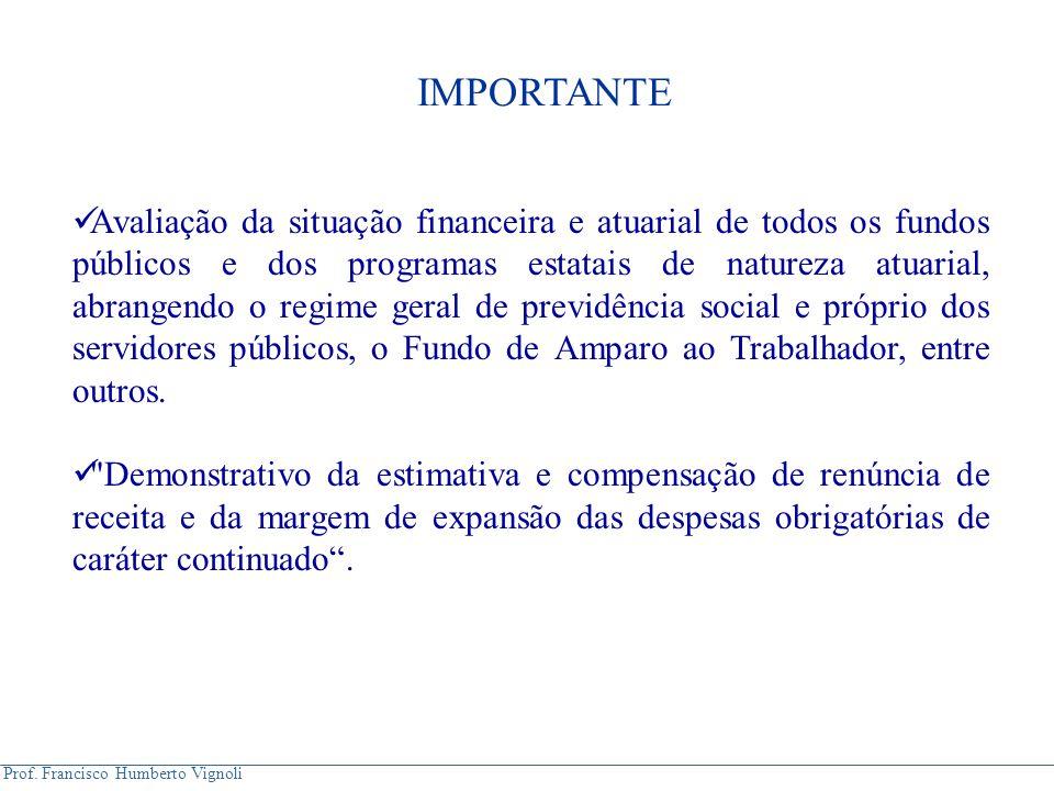 Prof. Francisco Humberto Vignoli Avaliação da situação financeira e atuarial de todos os fundos públicos e dos programas estatais de natureza atuarial