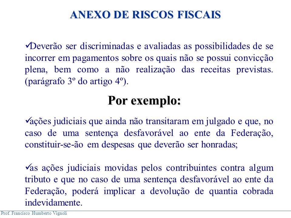 Prof. Francisco Humberto Vignoli Deverão ser discriminadas e avaliadas as possibilidades de se incorrer em pagamentos sobre os quais não se possui con